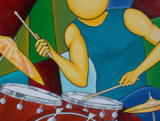 Abstract Drum Paintings - Mystic Sticks by Herb Dickinson