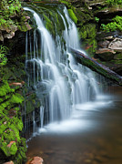 Water Flowing Posters - Mystical Mossy Green Waterfall Poster by John Stephens