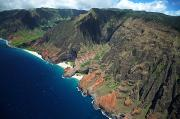 Peter French Framed Prints - Na Pali Coast Aerial Framed Print by Peter French - Printscapes