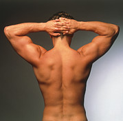 Athlete Framed Prints - Naked Torso (back View) Of An Athletic Young Man Framed Print by Phil Jude