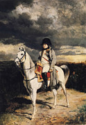 Napoleonic Wars Framed Prints - Napoleon Bonaparte On Horseback Framed Print by War Is Hell Store