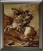 Realistic Art Pyrography - Napoleon Crossing the Alps by Dino Muradian