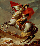 Soldier Paintings - Napoleon Crossing the Alps by Jacques Louis David
