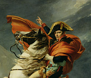 Glove Painting Framed Prints - Napoleon Crossing the Alps on 20th May 1800 Framed Print by Jacques Louis David