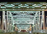 Downtown Nashville Metal Prints - Nashville by Night Bridge 2 Metal Print by Douglas Barnett