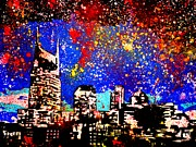 Splatter Painting Prints - Nashville Print by Nickie Mantlo