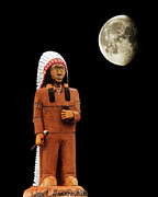 Indian Feather Posters - Native American Carved Tree And The Moon Poster by Andee Photography