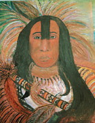 Bulls Mixed Media Originals - Native American Chief by Anne-Elizabeth Whiteway