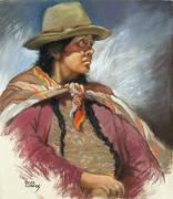Peru Paintings - Native Peruvian woman by Oscar Cuadros