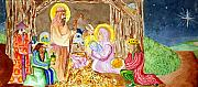 Christmas Card Greeting Cards - Nativity by Jame Hayes