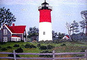 North American Lighthouses - Paintings By Frederic Kohli - Nauset Lighthouse Painting by Frederic Kohli