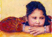 Young Girl Mixed Media Originals - Navajo Girl by Suzie Majikol-Maier