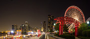 Sky Line Art - Navy Pier at Night by Twenty Two North Gallery