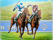 Horse Racing Art Posters - Nearing the finish Poster by Andrew Read