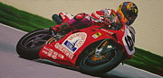 Motorcycle Racing Art Painting Framed Prints - Neil Hodgson - Ducati World Superbike Framed Print by Jeff Taylor
