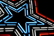 4th July Framed Prints - Neon Star Framed Print by Darren Fisher