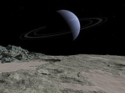Planetary Science Photos - Neptune From Triton, Artwork by Walter Myers