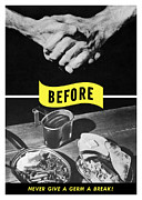 Ww2 Mixed Media Posters - Never Give A Germ A Break Poster by War Is Hell Store
