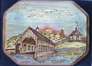 Covered  Pyrography Posters - New England Covered Bridge Poster by Clarence Butch Martin