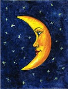 Man In The Moon Paintings - New Moon by Sarah Farren