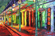 New Orleans Oil Painting Metal Prints - New Orleans at Night Painting - All Jazzed Up Metal Print by Beata Sasik