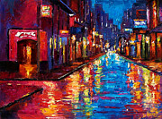 Rainy Street Framed Prints - New Orleans Magic Framed Print by Debra Hurd