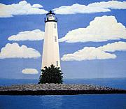 Lighthouse Images Paintings - New Point Comfort Lighthouse by Frederic Kohli