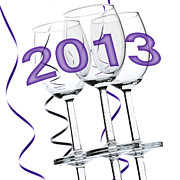 Wine Glasses Photo Prints - New Year 2013 Print by Blink Images