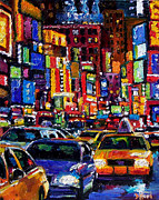 Manhatten Painting Posters - New York City Poster by Debra Hurd