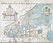 Manhattan Map Framed Prints - New York City Map, 1728 Framed Print by Granger