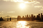 Manhattan Sunset Posters - New York City Sunset Poster by Vivienne Gucwa