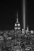 Black And White City Prints - New York City Tribute in Lights Empire State Building Manhattan at Night NYC Print by Jon Holiday