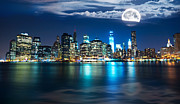 Sea Moon Full Moon Framed Prints - New York Skyline Framed Print by Mircea Costina Photography