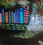 Fireworks Paintings - New York When Its Happy by Marie Bulger