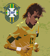 First Star Framed Prints - Neymar Art Deco Framed Print by Lee Dos Santos