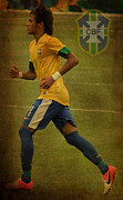 League Metal Prints - Neymar Junior Metal Print by Lee Dos Santos