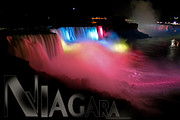 Night Out Framed Prints - Niagara Falls Postcard Framed Print by Syed Aqueel