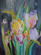 Flags Paintings - Night Blooms by AnnE Dentler