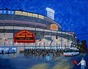Chicago Cubs Stadium Posters - Night Game Poster by J Loren Reedy
