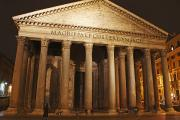 Night Lamp Posters - Night Lights Of The Pantheon In Piazza Poster by Trish Punch