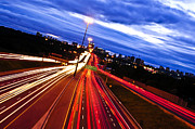 Blurred Framed Prints - Night traffic Framed Print by Elena Elisseeva