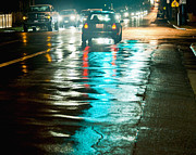 Travel Truck Posters - Night Traffic on a Wet Street Poster by Thom Gourley/Flatbread Images, LLC