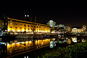 Old Inns  Prints - Night view of st Katherines dock London Print by David Pyatt
