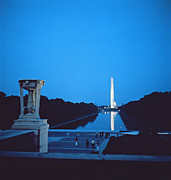 Mall Framed Prints - Night view of the Washington Monument across the National Mall Framed Print by American School