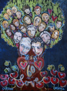 Family Love Paintings - Nikkis Family by Laurie Maves