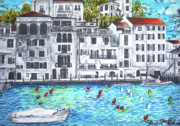 Italian Restaurant Drawings Prints - Nizza Print by Alan MacFarlane