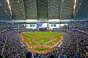 Mlb Metal Prints - NLDS Miller Park Milwaukee Metal Print by Steve Sturgill