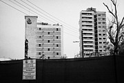 Gaszimagusa Prints - No Photography Warning Signs At Varosha Forbidden Zone With Salaminia Tower Hotel Abandoned In 1974 Print by Joe Fox
