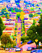 The Hills Digital Art Framed Prints - Noe Street in San Francisco 2 Framed Print by Wingsdomain Art and Photography