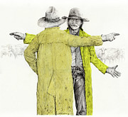 Cowboy Sketches Framed Prints - Nooooo This Way Framed Print by Jack Schilder